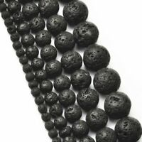 Natural Lava Stone Rock Volcanic Round Space Loose Beads For Bracelet Jewelry