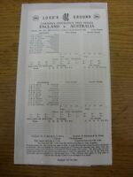 22/06/1989 Cricket Scorecard: England v Australia [At Lords] 5 Day Match (unused