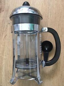 8 Cup BODUM 1L Caffettiera Coffee Maker - Chrome Black Cafetière RRP £60