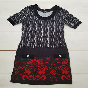 IZABEL Casual Tunic Top Size XL Black Abstract Stretch Short Sleeve