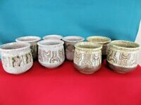 """Set of 8 Hand Made Pottery Espresso Cups, Shot Glasses, Planters Signed """"Susi""""?"""