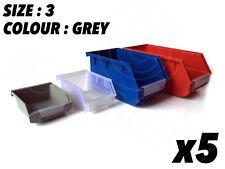 5 X Gris Talla 3 Cajas De Almacenamiento Contenedores piezas pequeñas Taller Garaje de 190 X 105 X 70 mm
