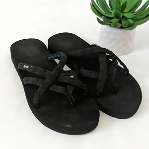 TEVA Olowahu Sandals Mush Footbed Size 9 Womens Shoe Black Strappy Cushioned