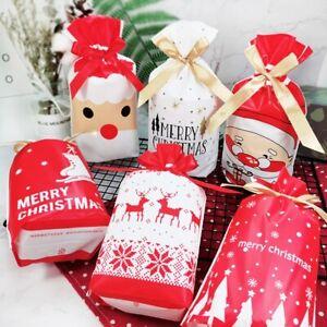 20Pcs Xmas Gift Bag Drawstring Ribbon Tie Set Christmas Reindeer Santa