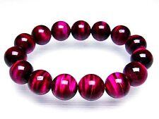 14MM 3A Natural Golden Rose Pink Tiger Eye Stripe Round Bracelet GIFT BL1912c