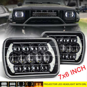"Fit for Chevrolet Blazer S10 C6500 Truck Corvette 2pcs Black 7X6"" LED Headlights"