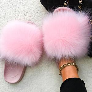 Faux Fox Sandals Racc00n Fur Slides Indoor Slippers Beach Flip Flops Flat Furry