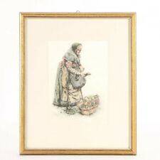 """Paul Geissler """"Vegetable Woman"""" Signed in Plate Photomechanical Print on Fabric"""