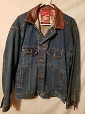 Marlbor Demin Jean Jacket Leather Collar Country Store Coat Mens M
