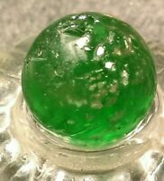 """11/16"""" Floating SILVER MICA IN EMERALD GREEN Ground Pontil CAC German Marbles"""