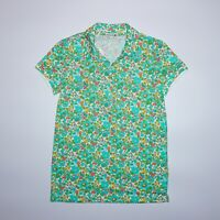 Lacoste Women's Blue Floral Short Sleeve Polo Shirt Size 36 NEW