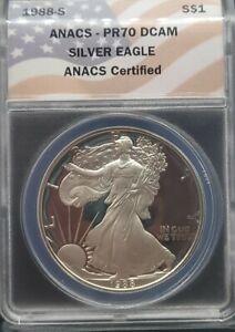 1988-S ANACS PR70 DCAM PROOF American Silver Eagle $1 FLAG LABEL PF70