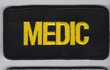 MEDIC vest gear bag patch, gold on black, 4 x 2 with full hook backing