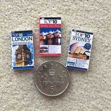 3 DOLLS HOUSE MINIATURE TRAVEL BOOKS London Sydney Barcelona TOP10 Handmade 12th