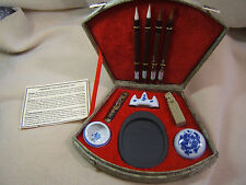 Chinese Calligraphy Set in Silk Box Brushes Ink Chop Rest Plus Batik journal