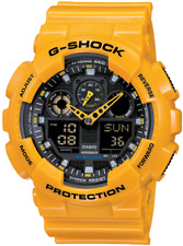 Casio G-Shock GA100A-9A Mens Yellow Digital Analog Resin Band Watch