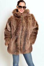 RACCOON FUR Jacket with Hood Hoody Size Medium-Large