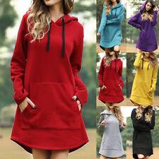Women Long Sleeve Hooded Jumper Dress Ladies Casual Hoodie Mini Dress Pullover