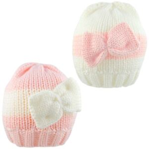 Newborn Baby Hat With Bow Knitted Warm Winter Cute Beanie Cap Girl New Born 0-3