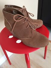 "WHITE MOUNTAIN Lace-Up Platform Wedge Ankle Boots 6.0M Brown Suede 3"" Heel"