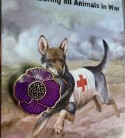 The Purple Poppy Lapel Pin* Remembering Our Animals On  *Remembrance Day. 20mm