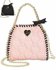 Betsey Johnson Womens Mini Quilted Chain Shoulder bag pink or Black