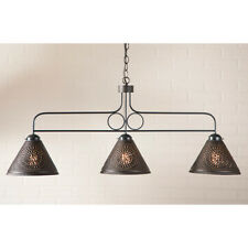 Franklin 3 Light Hanging Pendant Light with Punched Tin Shades in 2 Colors