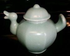 Vintage Chinese Celadon Bird Teapot RARE