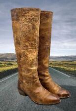 Diba True PROGRESS Tan Brown Distressed Leather Women's Size 7.5 Tall Boots