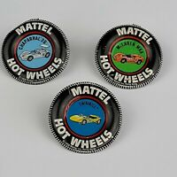 1968 VINTAGE MATTEL HOT WHEELS REDLINE LOT OF 3 TIN BADGE PIN BUTTONS