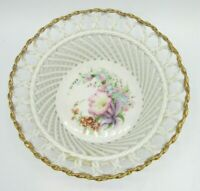 Romanian Lace Porcelain Reticulated Lattice Bowl Hand Painted Florals Gold Trim