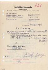 WURZEN, Rechnung 1945, Freiwillige Feuerwehr
