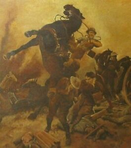 Antique Royal Academy of Art Museum Original WW1 Oil Painting F. Matamo RA 1918