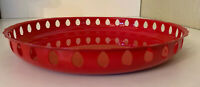 "Vintage Mid Century Modern Small 9"" x 1.25"" Red Enamel Reticulated Tray"