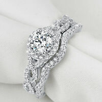 Newshe Wedding Engagement Ring Set 925 Sterling Silver Halo Round White Cz 5-10