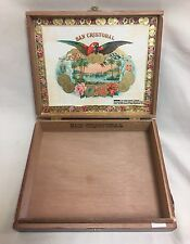 San Cristobal Presto Wooden Cigar Box (Empty) Storage Gift Box Hinged 9x7.5x2