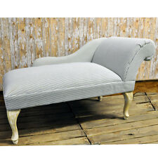 Blue Ticking Stripe Linen Chaise Longue Lounge Sofa Bedroom with Wooden Legs