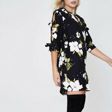 River Island, Petite Black Floral Shift Mini Dress, Size 4, Brand New
