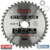 Draak 216mm x 30mm Bore 40 Tooth TCT Circular WOOD MITRE Saw BLADE Makita Bosch