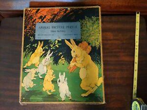 VTG 1930s Milton Bradley Jigsaw Puzzles Lot 3 Farm Animals CHILDREN  w/ Box 58pc