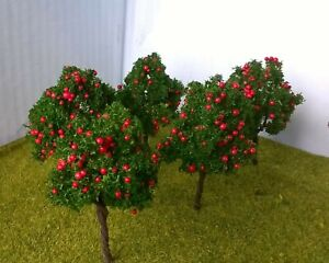 Model fruit apple trees - 7cm high, pack of 5 - Railway Architecture Warhammer