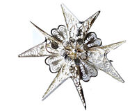 Vintage Ornate Silver Filigree Maltese Cross Brooch Pin GIFT BOXED