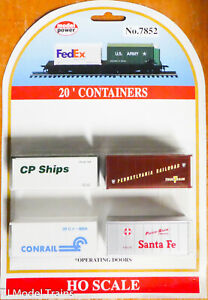 Model Power HO #7852 (CP Ships, Conrail, Santa Fe, Pennsy) Containers 20' Opr.Dr
