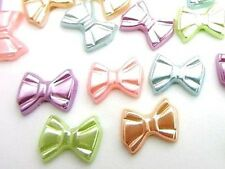 100 Pastel Pearly Little Bow Tie Craft Pearl Embellishment/Plastic/Easter B152