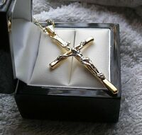 LARGE 18ct Crucifix cross and chain WHITE AND YELLOW GOLD gf 9ct-gold-world 58
