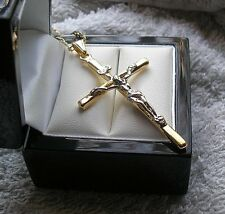 LARGE 9ct gold cross crucifix necklace,Stunning FREE POSTAGE IF YOU BUY TODAY 58