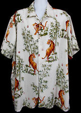 Profile Island Hawaiian Shirt 2XL Tiger Oriental Symbols Bamboo Tropical Jungle