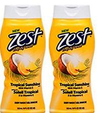 ZEST BODY WASH TROPICAL SUNSHINE 18 OZ  Pack of 2