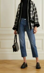 GUCCI Oversized fringed checked wool-blend tweed jacket, size IT 38