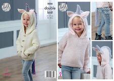 King Cole Girls Double Knitting Pattern Hooded Unicorn Sweater & Cardigan 5036